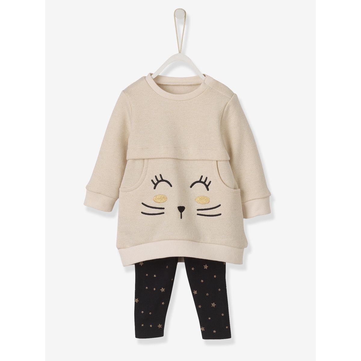 20. Ensemble bébé fille robe et legging motif irisé chat 6 mois 1c51d5057ea
