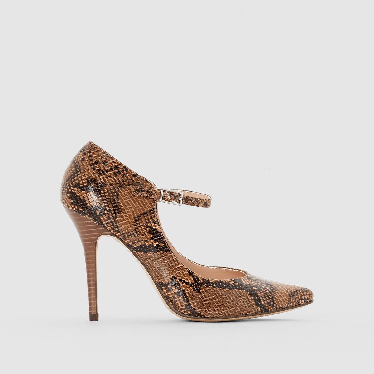 Туфли с пряжкой и рисунком под кожу питонаМарка :      R ?ditionВерх : синтетика.Подкладка : синтетика.Стелька : синтетика.Подошва : из эластомераВысота каблука : 10,5 cм  Форма каблука: тонкийМысок : заострённыйПреимущества : женственная модель и высокий каблук создадут ошеломляющий силуэтМы советуем выбирать обувь на размер больше, чем ваш обычный размер<br><br>Цвет: под питона<br>Размер: 39.40.41
