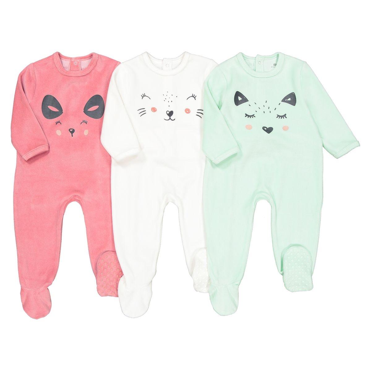Lot de 3 pyjamas 1 pièce en velours 0 mois-3 ans