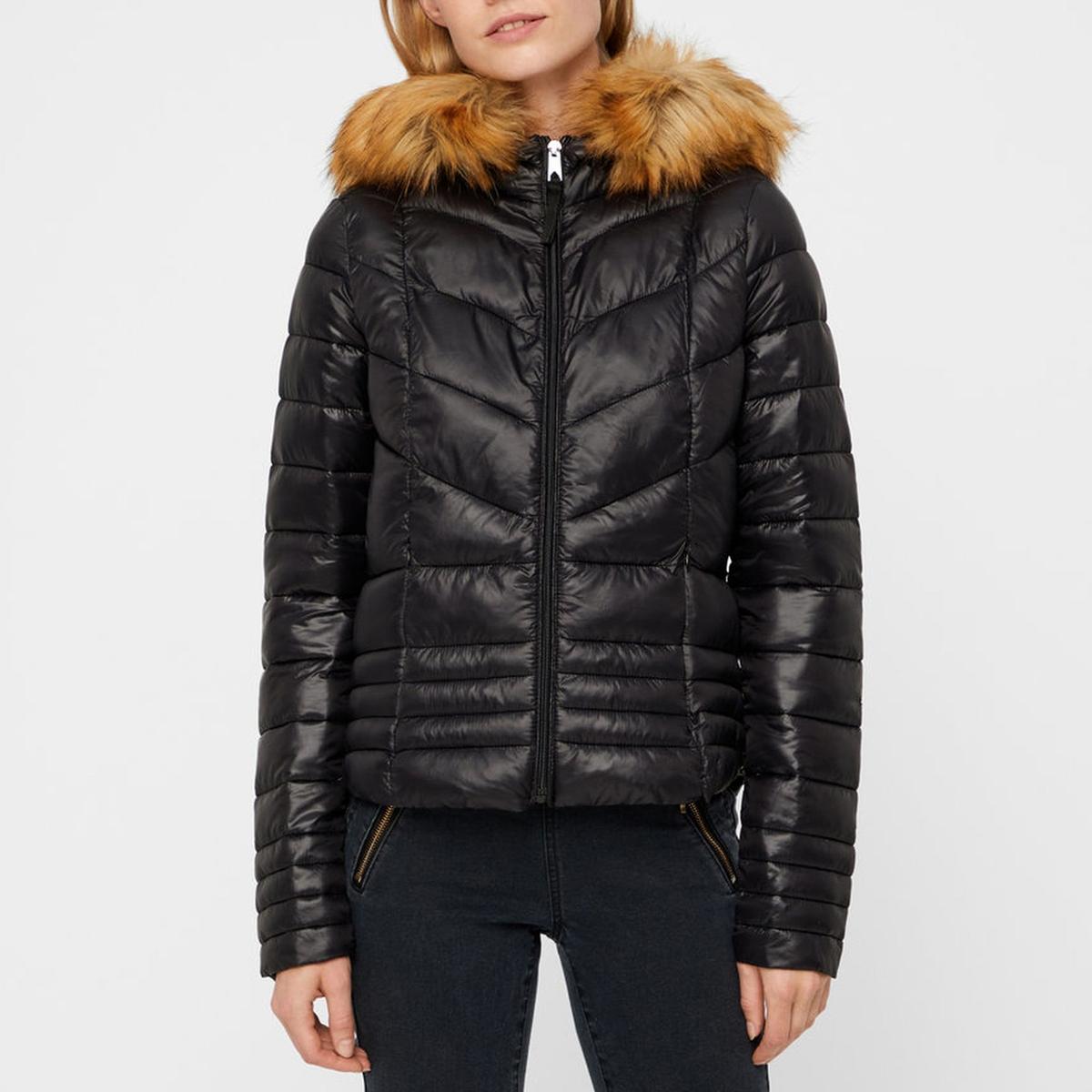 Куртка стеганая с капюшоном из искусственного меха 12storeez шуба укороченная из искусственного меха бежевый