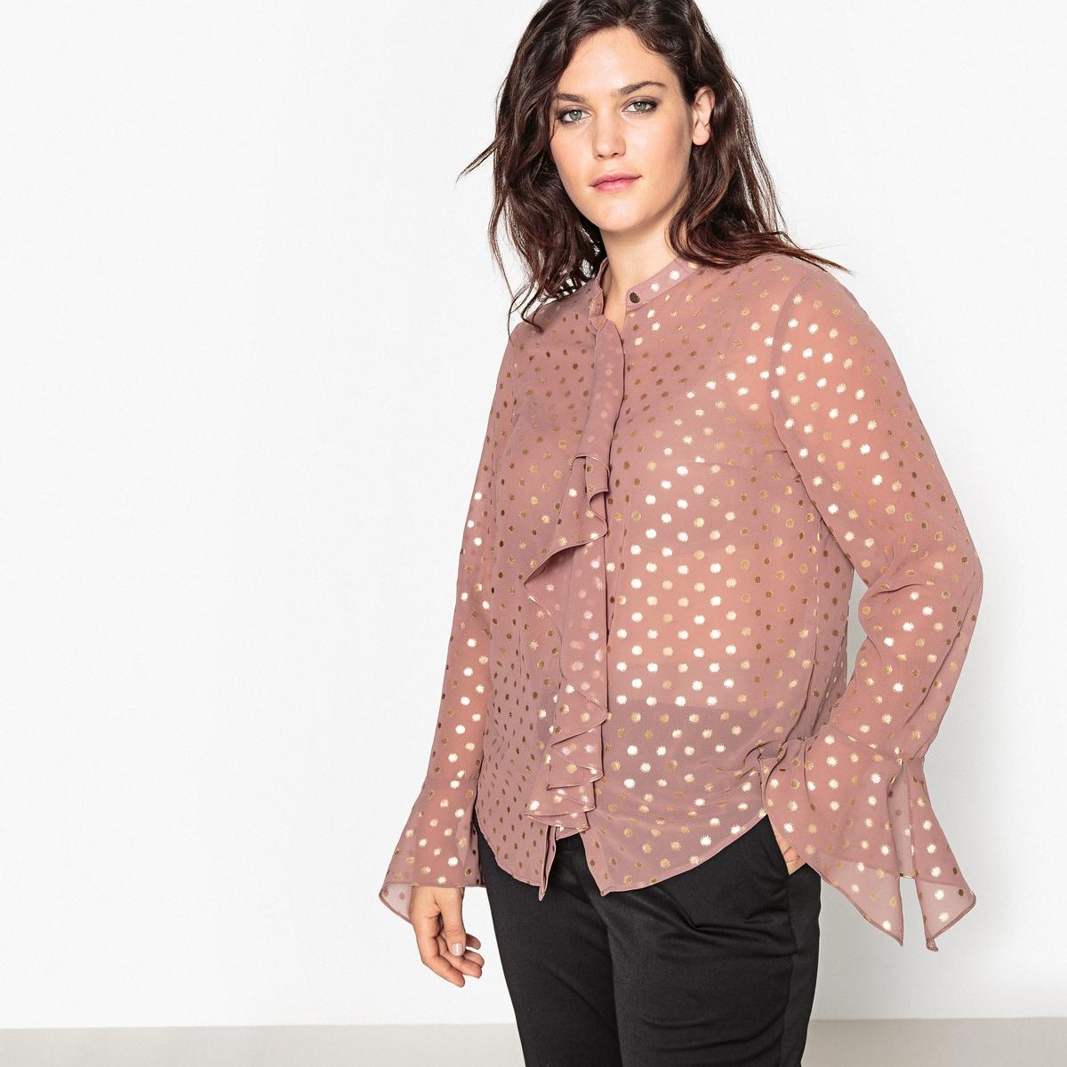 Рубашка с круглым вырезом и рисунком в горошек рубашка в мелкий горошек