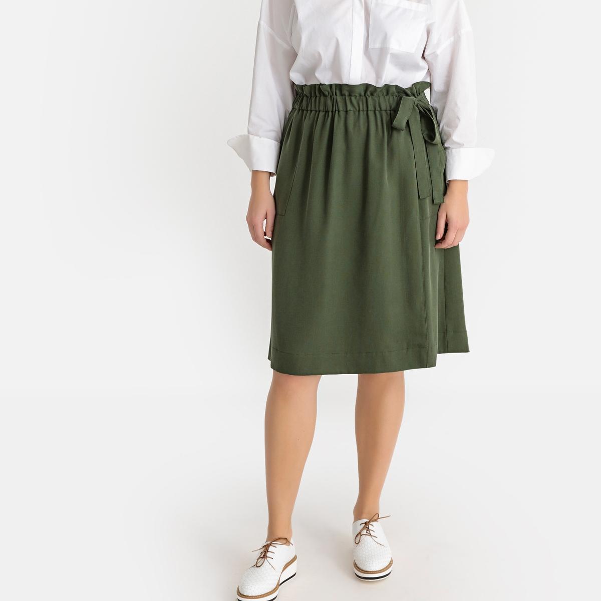 Юбка La Redoute С запахом средней длины из лиоцелла 42 (FR) - 48 (RUS) зеленый юбка с запахом на пуговицах