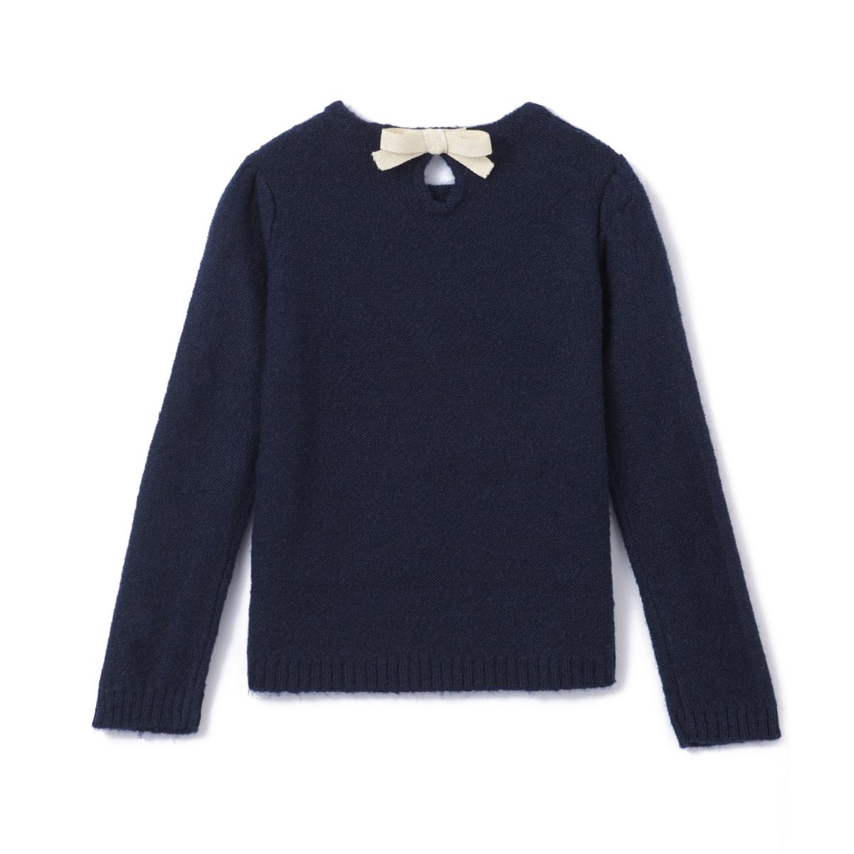 Пуловер с бантом сзади, 3-12 лет