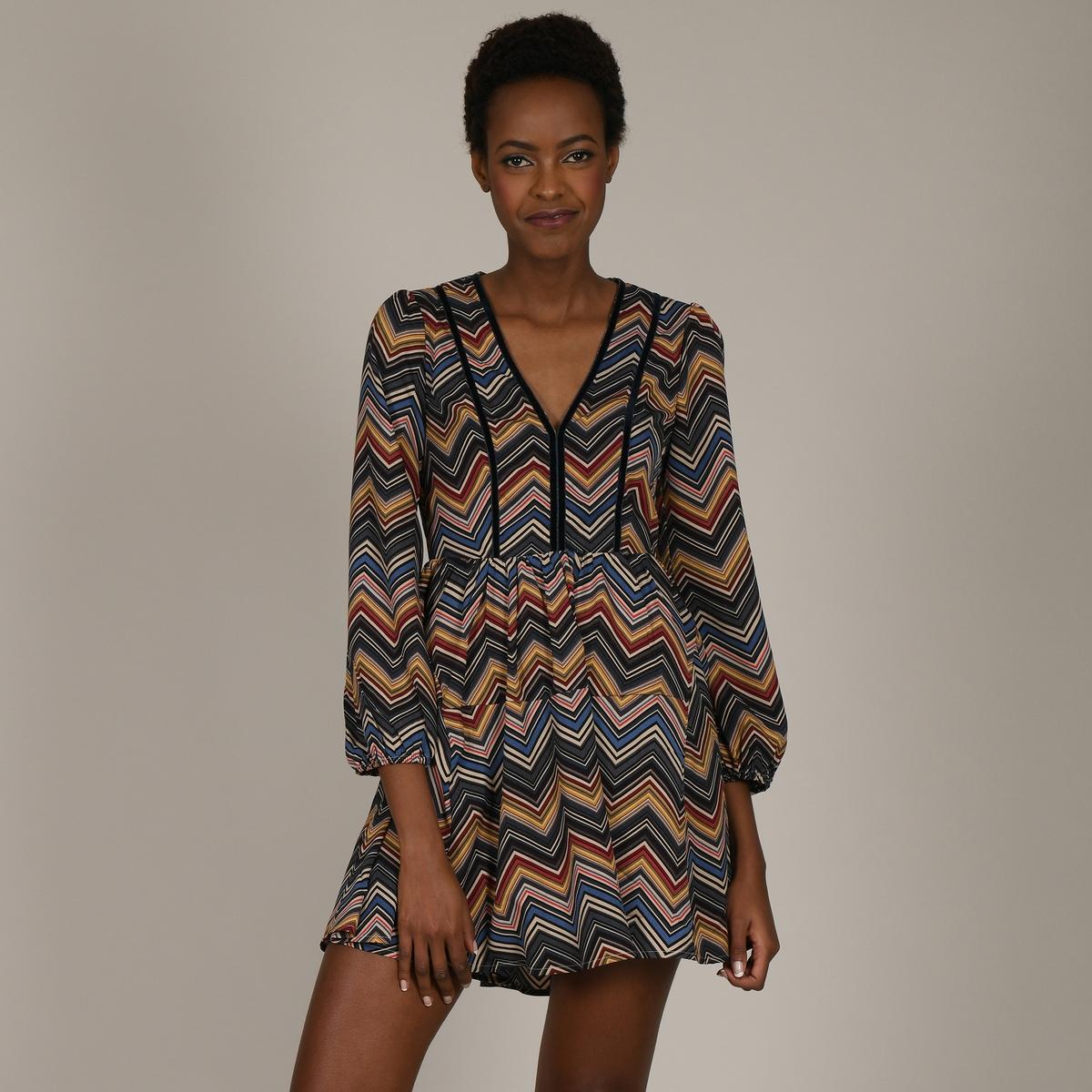 Платье La Redoute Короткое расклешенное с длинными рукавами и V-образным вырезом L черный