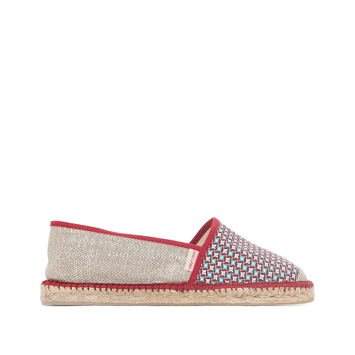 Туфли VP MixВерх: полотно и текстиль.Стелька: шнур.Подошва: каучук.Высота каблука: 2 см.Форма каблука: плоский каблук.Мысок: закругленный.Застежка: без застежки.<br><br>Цвет: бордовый/рисунок<br>Размер: 39.37.38