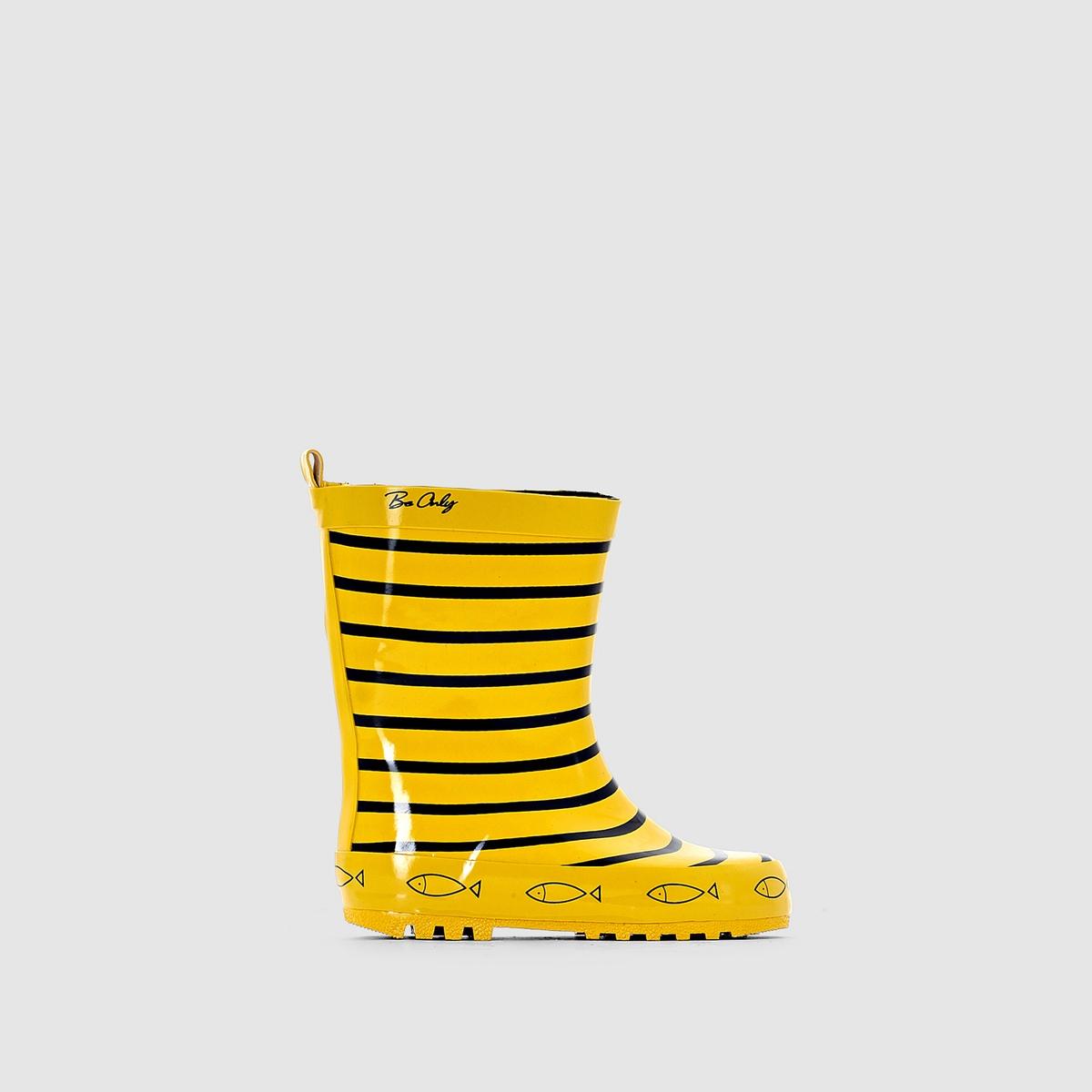 Сапоги резиновыеДетали •  Резиновые сапоги •  Плоский каблук •  Круглый мысок •  Застежка : без застежки •  Гладкая отделкаСостав и уход •  Верх 100% каучук •  Подкладка 100% хлопок •  Стелька 100% текстиль •  Подошва 100% каучук<br><br>Цвет: желтый в полоску