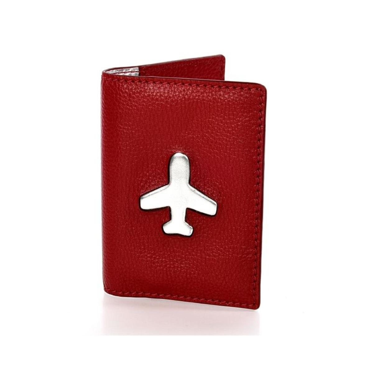 Étui passeport en cuir grainé rouge