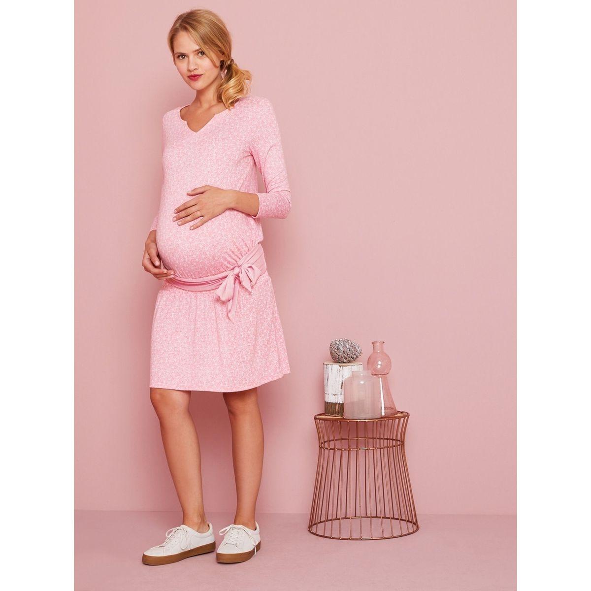 Robe de grossesse taille smockée et ceinture