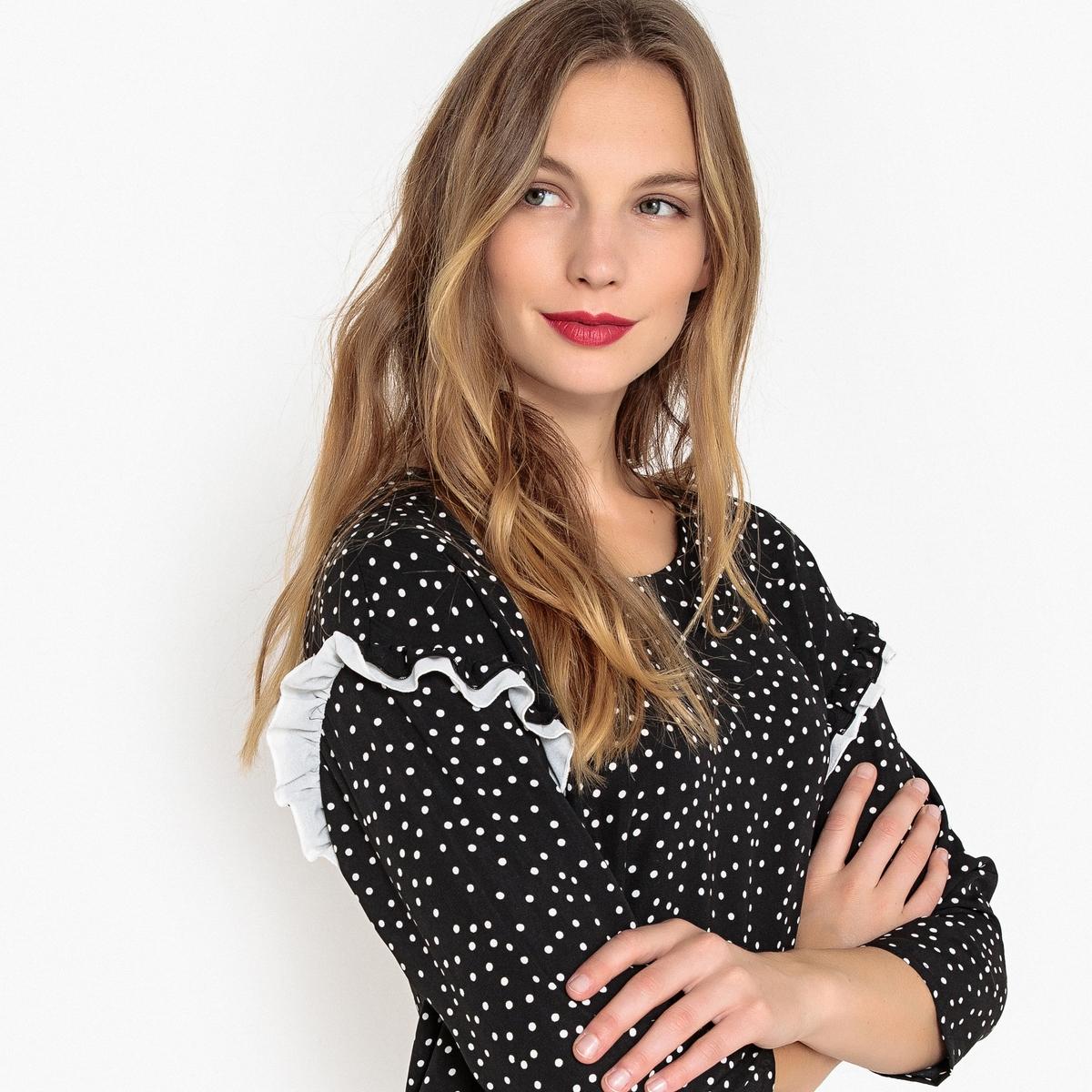 Платье La Redoute Прямое с рисунком в горошек и рукавами 34 (FR) - 40 (RUS) черный платье la redoute прямое с принтом до колен 48 fr 54 rus черный