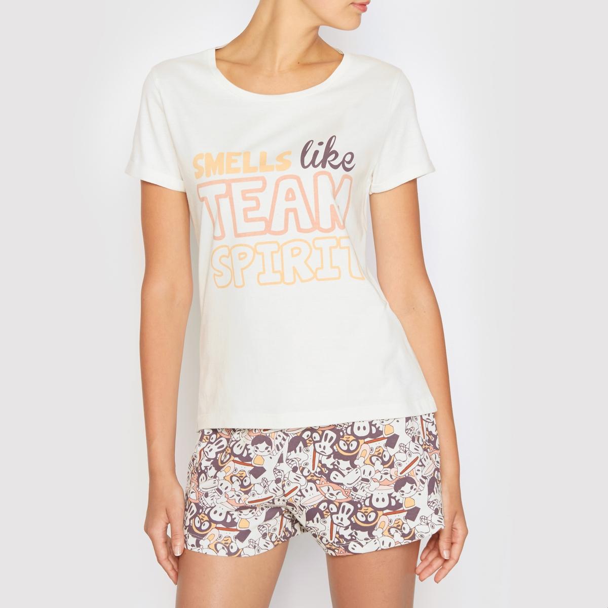 Пижама с шортами Paul FranckСостав и описание :Материал : 100% хлопкаДлина по внутр.шву : 72 смМарка : PAUL FRANCK УходМашинная стирка при 30 °Сс вещами схожих цветов<br><br>Цвет: рисунок/белый<br>Размер: S