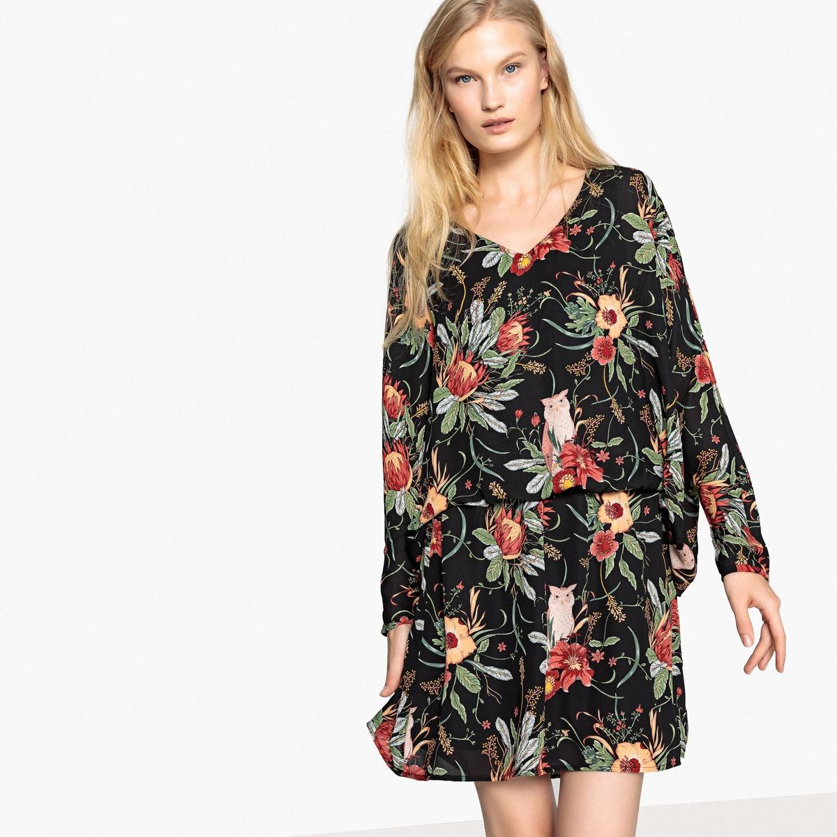 Imagen principal de producto de Vestido recto con estampado de flores y largo midi, 3/4 - Pepe Jeans