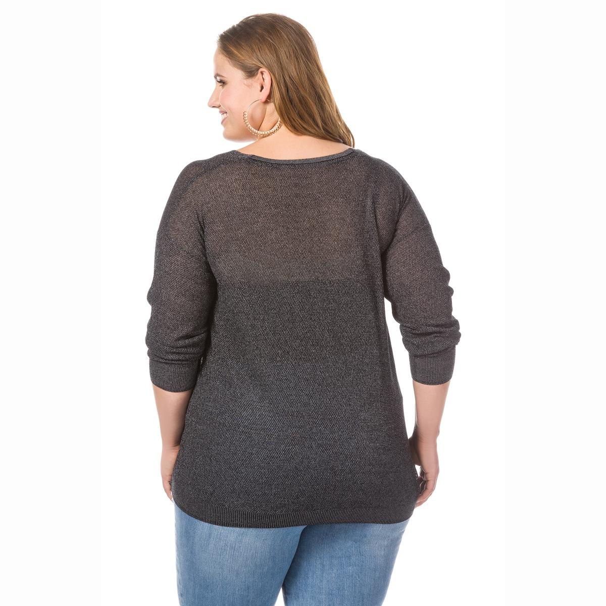 ПуловерПуловер STUDIO UNTOLD. Мягкий пуловер из красивой глянцевой пряжи. V-образный вырез, длинные рукава, низ с небольшими разрезами по бокам . 76% вискозы, 24% полиэстера.Длина, в зависимости от размера, от 65 до 70 см.<br><br>Цвет: черный<br>Размер: 56/58 (FR) - 62/64 (RUS)