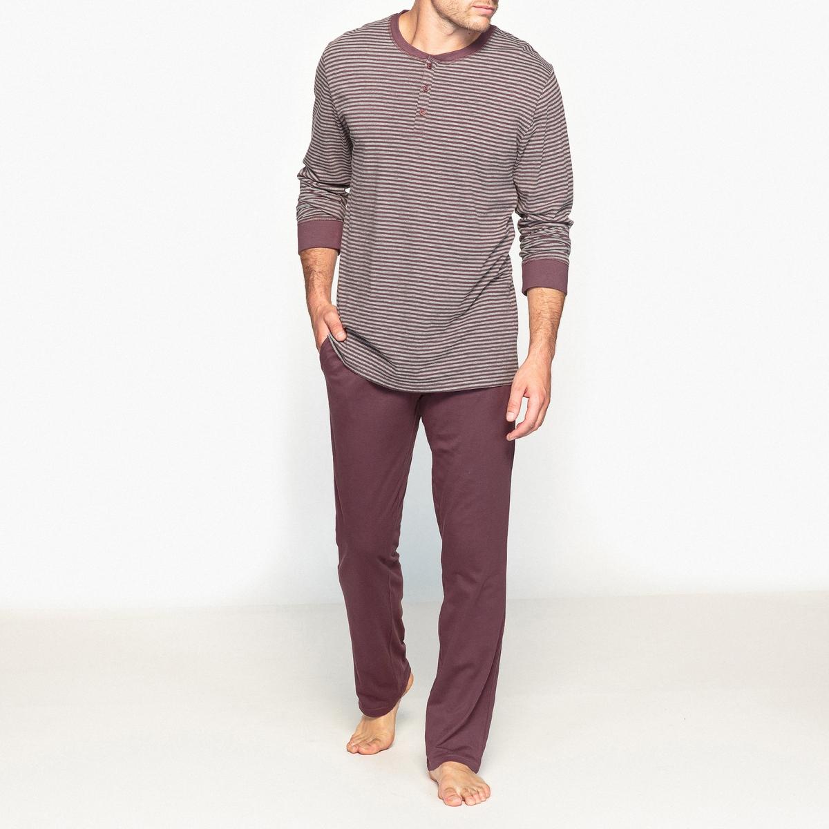 Пижама с футболкой с длинными рукавами и круглым вырезом с разрезом спереди