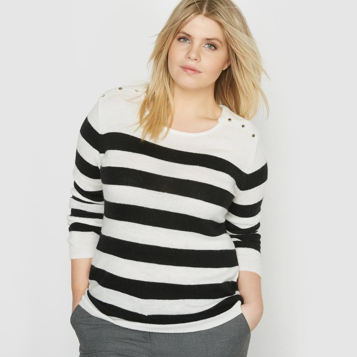 Пуловер в полоску в морском стиле, 17% альпакиСостав и описание :Материал : 83% полиамида, 17% альпаки.Длина : 67 см для размера 42/44.Марка : CASTALUNA.Уход : ручная стирка.<br><br>Цвет: в полоску экрю/черный