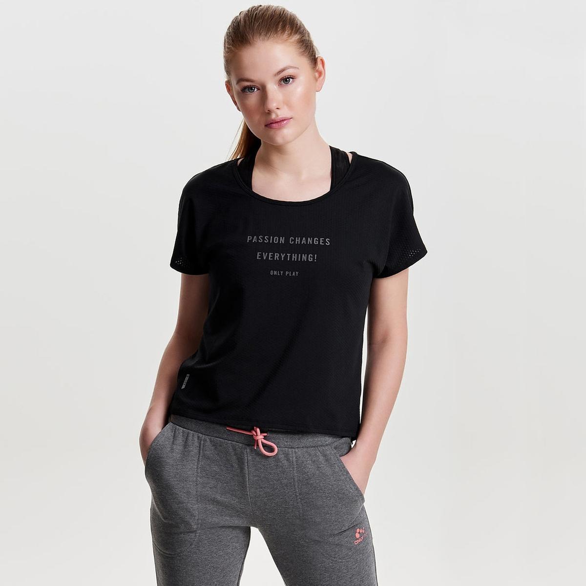 T-shirt com motivo à frente, gola redonda, mangas curtas