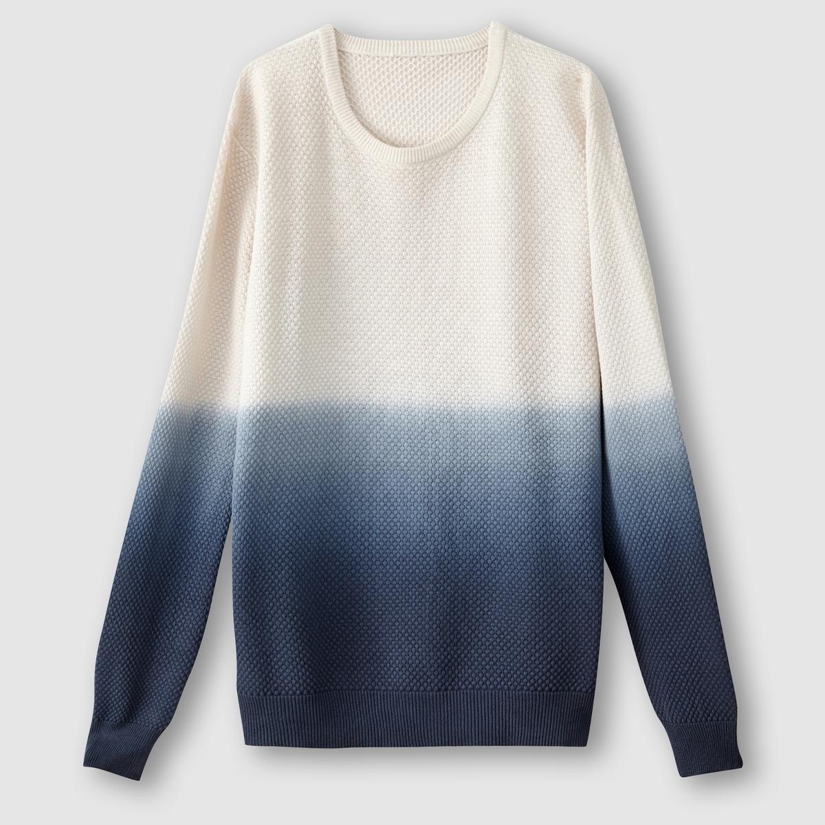 Пуловер с эффектом деграде, фантазийный трикотажСостав и описаниеМатериал: 100% хлопка.Марка: SOFT GREY.<br><br>Цвет: синий/экрю<br>Размер: 3XL