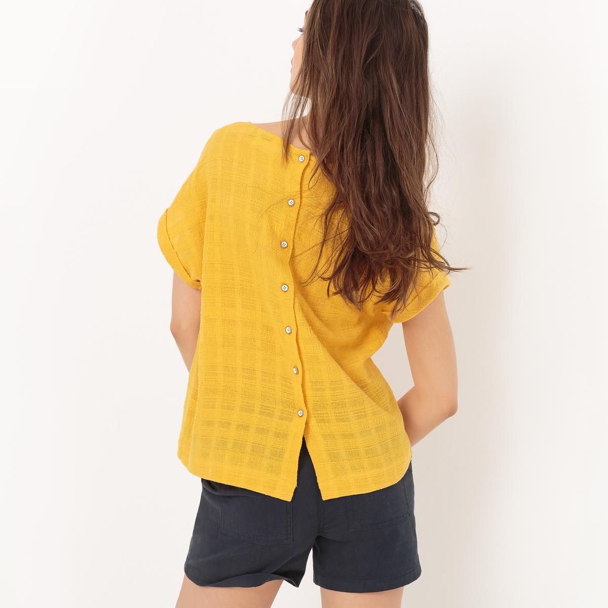 Блузка из хлопкаМатериал : 100% хлопок  Длина рукава : Короткие рукава Форма воротника : Круглый вырез Длина : Стандартная  Рисунок : Однотонная модель<br><br>Цвет: желтый карри<br>Размер: L