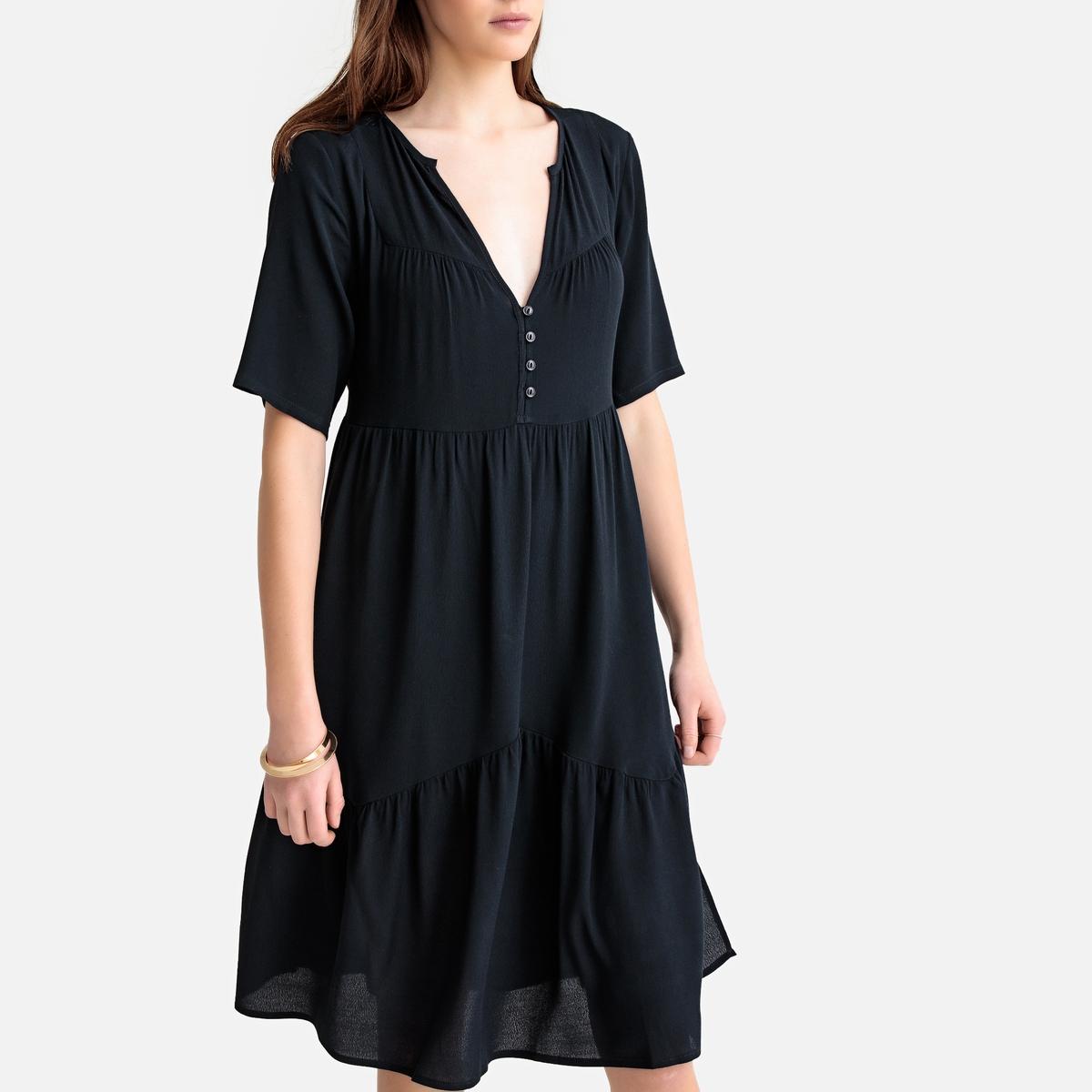 Платье-миди La Redoute С короткими рукавами XS синий