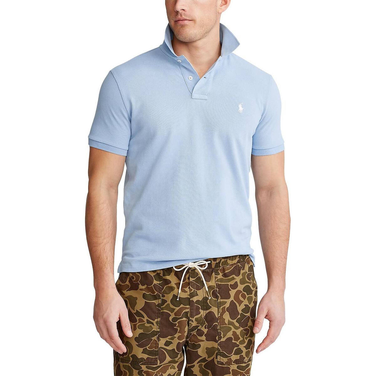 Поло LaRedoute Прямой покрой Custom Fit из трикотажа пике L синий футболка поло la redoute из трикотажа пике shaker xxl синий