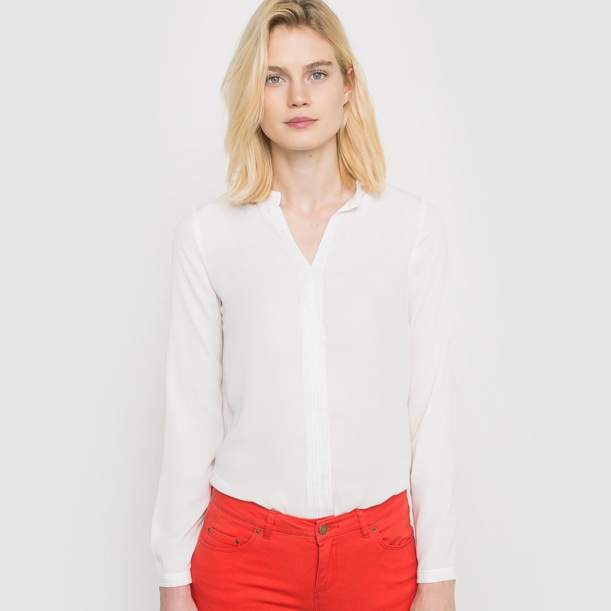 Блузка однотонная с длинными рукавамиОднотонная блузка. Маленький воротник мао. Длинные рукава. 100% полиэстера . Прострочка металлизированными нитями. Длина 59 см.<br><br>Цвет: слоновая кость<br>Размер: 48 (FR) - 54 (RUS)