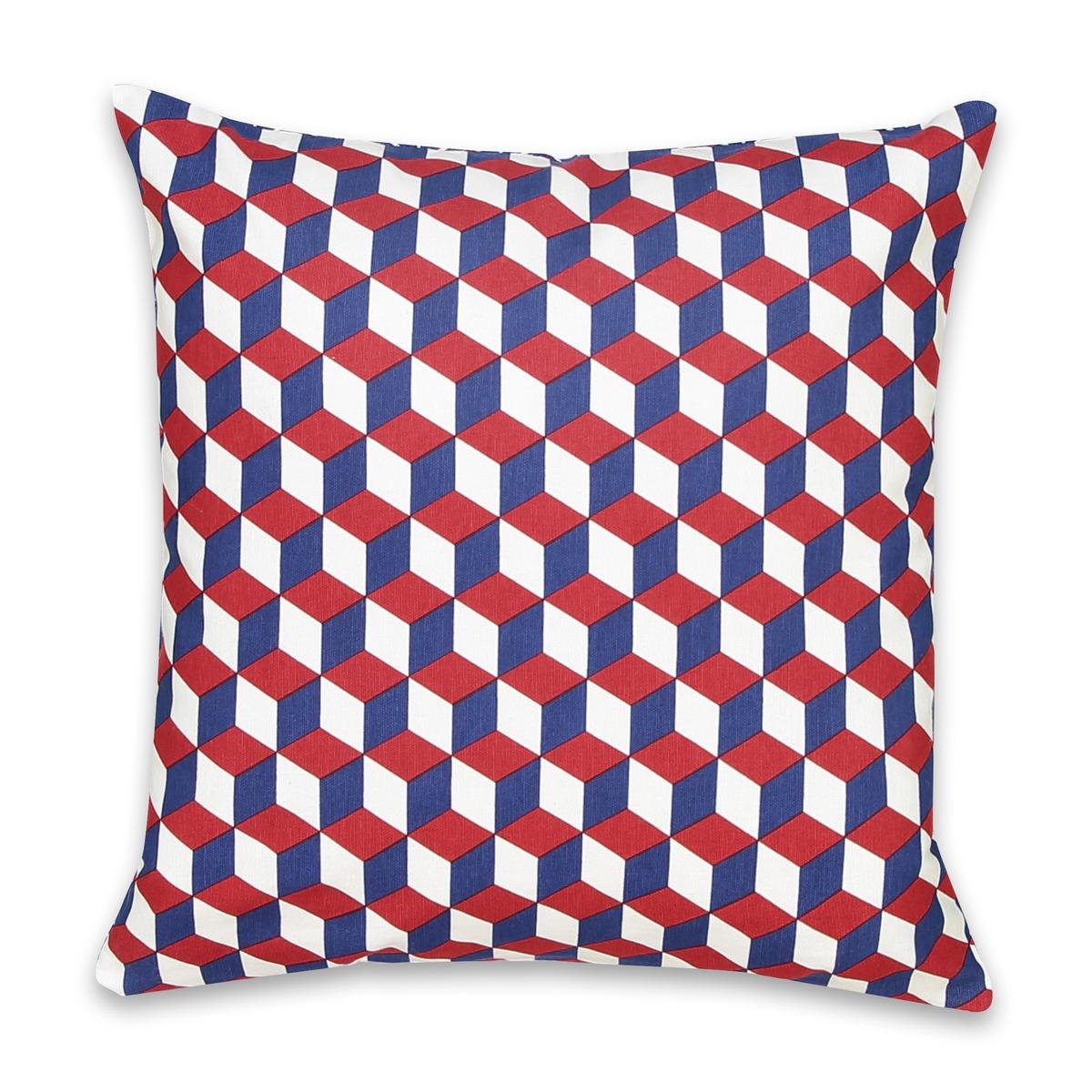 Чехол для подушкиЧехол для подушки Decio. Красивый геометрический рисунок с одной стороны, однотонный белый цвет с другой стороны. Застежка на скрытую молнию в тон. Стирка при 30°. 100% хлопка. Размер: 40 х 40 см.<br><br>Цвет: красный/ синий,Медовый/черный