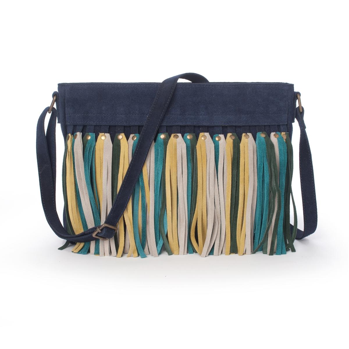 Сумочка кожанаяКожаная дамская сумочка R Studio с бахромой.Эта модная кожаная сумочка с бахромой в винтажном стиле прекрасно сочетается с джинсами и не только. Состав и описаниеМатериал : Верх: велюр из телячьей кожи                 подкладка из полиэстераМарка : R Studio.Размеры  : Д33 x В22 x Г4 смЗастежка : на молнию  1 карман на молнии, 2 кармана для телефонаРучка : регулируемая<br><br>Цвет: синий