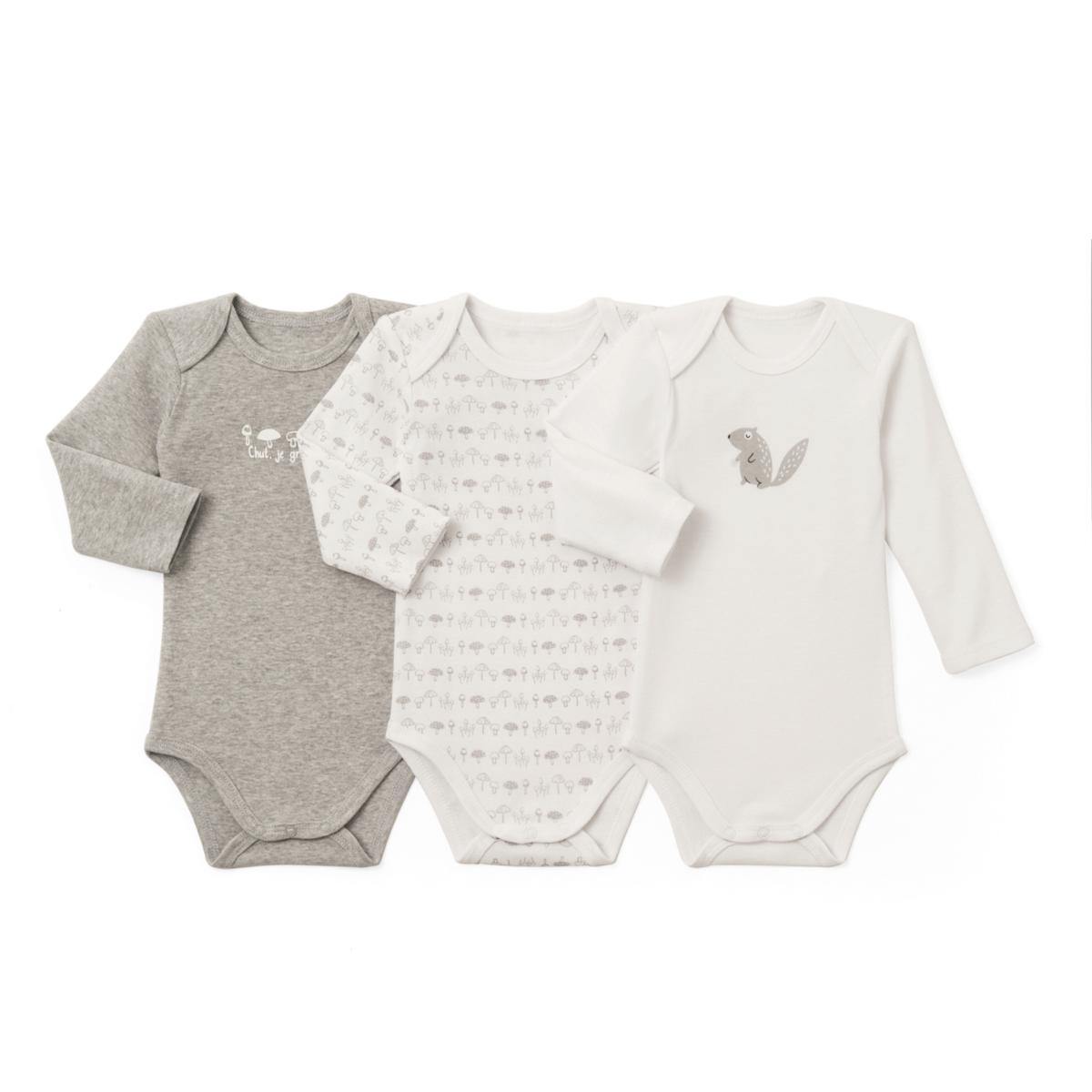 Комплект из 3 хлопковых боди для новорожденных 0 - 3 года