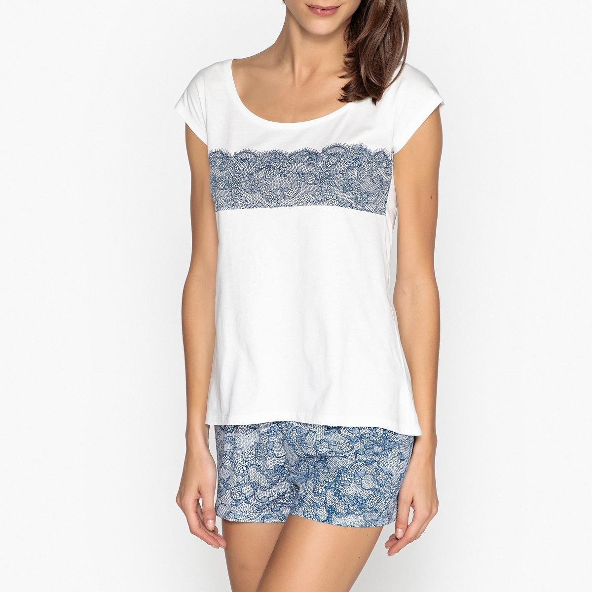 Пижама с шортами из хлопка пижама с шортами с рисунком