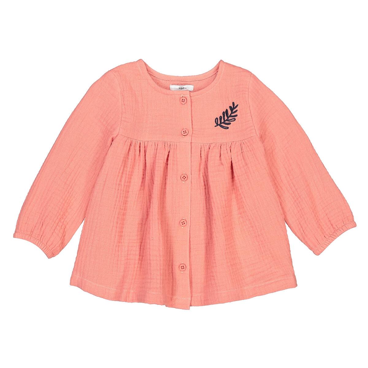 Фото - Блузка LaRedoute С длинными рукавами из хлопчатобумажной газовой ткани 3 мес - 4 года 3 года - 94 см розовый платье laredoute с короткими рукавами из хлопчатобумажной газовой ткани 3 12 лет 3 года 94 см розовый