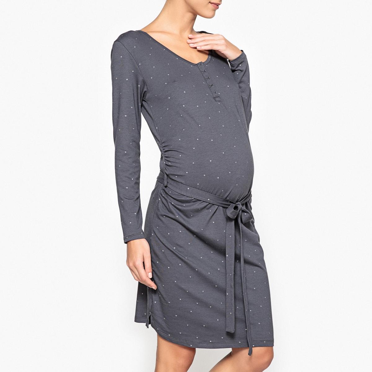 Рубашка ночная для периода беременностиНочная рубашка, разработанная специально для периода беременности, с рисунком в виде россыпи серебристых звезд ! Состав и описаниеНочная рубашка из джерси с рисунком в виде мелких серебристых звезд. Специально для периода беременности и грудного вскармливания. Планка застежки на кнопки облегчает кормление.Длинные рукава. Пояс с завязками под животом. Материал : 95% хлопка, 5% эластана.Уход :  Стирать при температуре 30° со схожими цветами.Стирать, сушить и гладить с изнаночной стороны.<br><br>Цвет: антрацит<br>Размер: 34/36 (FR) - 40/42 (RUS)