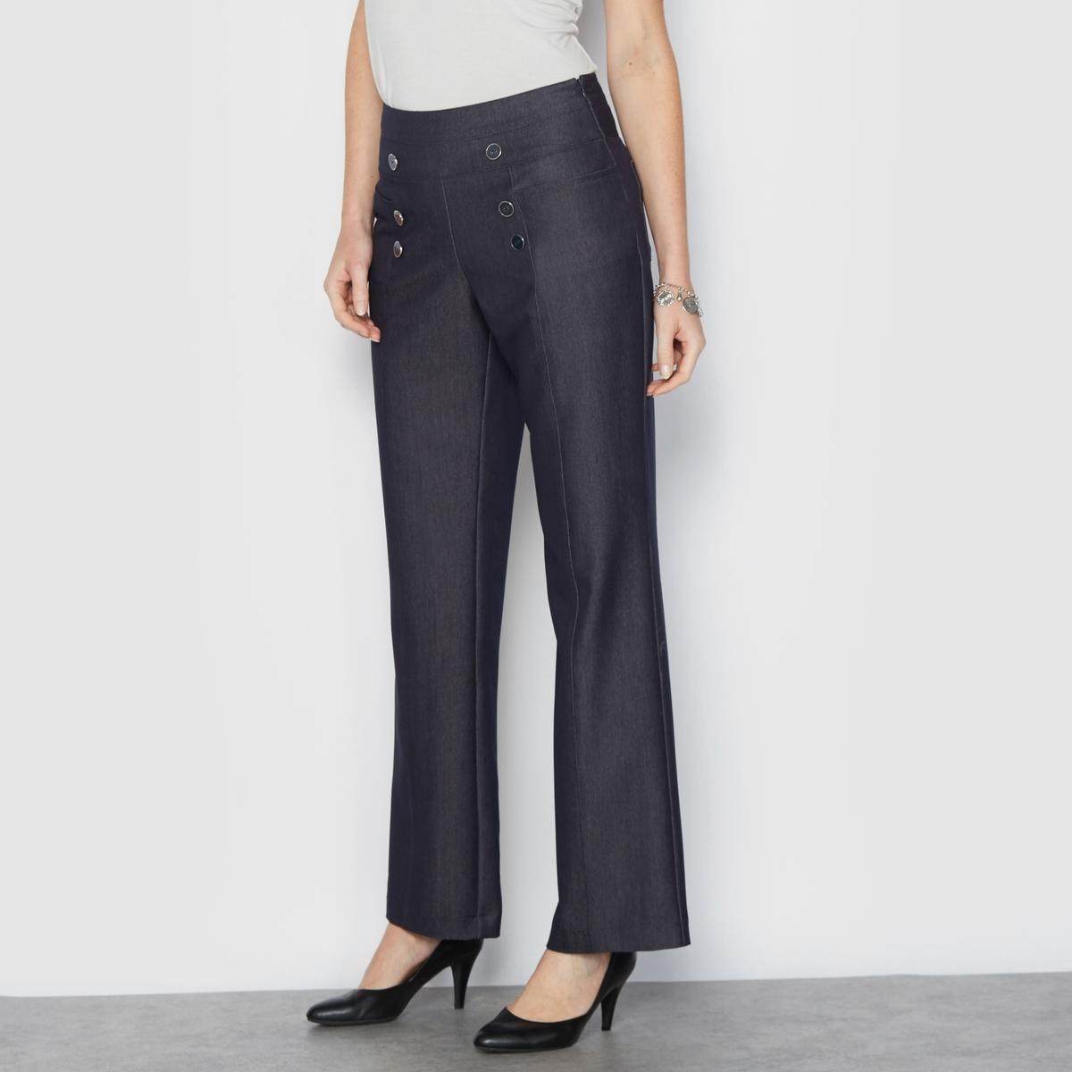 Брюки широкие с джинсовым эффектом, удобный стрейчОчень изящные широкие брюки с джинсовым эффектом. Невероятно стильные, в морском стиле. Вставка на поясе с оригинальным ремнём и пуговицами спереди. Застежка на молнию сбоку. Карманы спереди и сзади. Защипы спереди и сзади.Красивая саржа стрейч с джинсовым эффектом создаст великолепный образ и идеальный комфорт благодаря своей эластичности. Идеальный стиль, изящество и свобода движений.Состав и описание :Материал : Саржа, 80% полиэстера, 15% вискозы, 5% эластана. Длина по внутр.шву 78 см, ширина по низу 24 см.Марка : Anne WeyburnУход :Машинная стирка при 30° на умеренном режиме с изделиями схожих цветов.Гладить на низкой температуре.<br><br>Цвет: синий