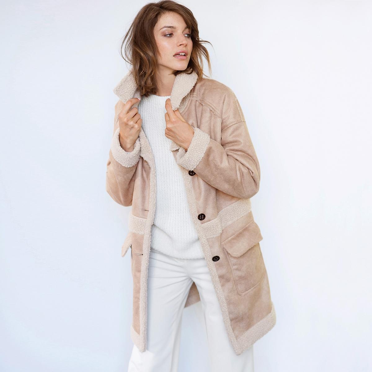 SOFT GREY Пальто из искусственной замши