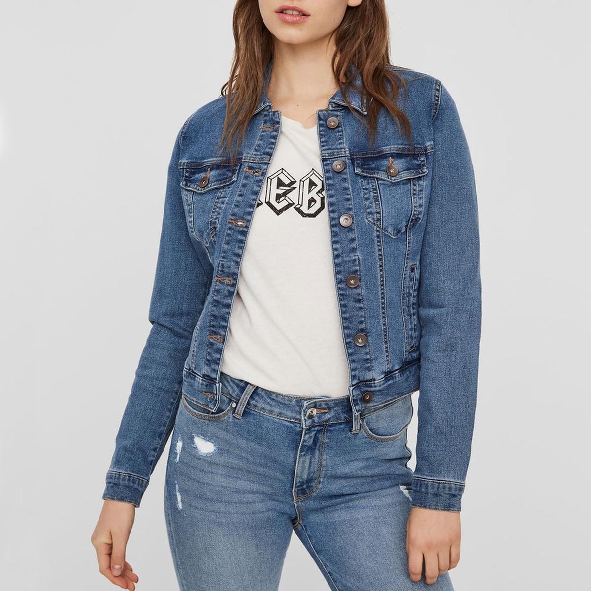 Куртка LaRedoute Короткая прямого покроя из джинсовой ткани S синий
