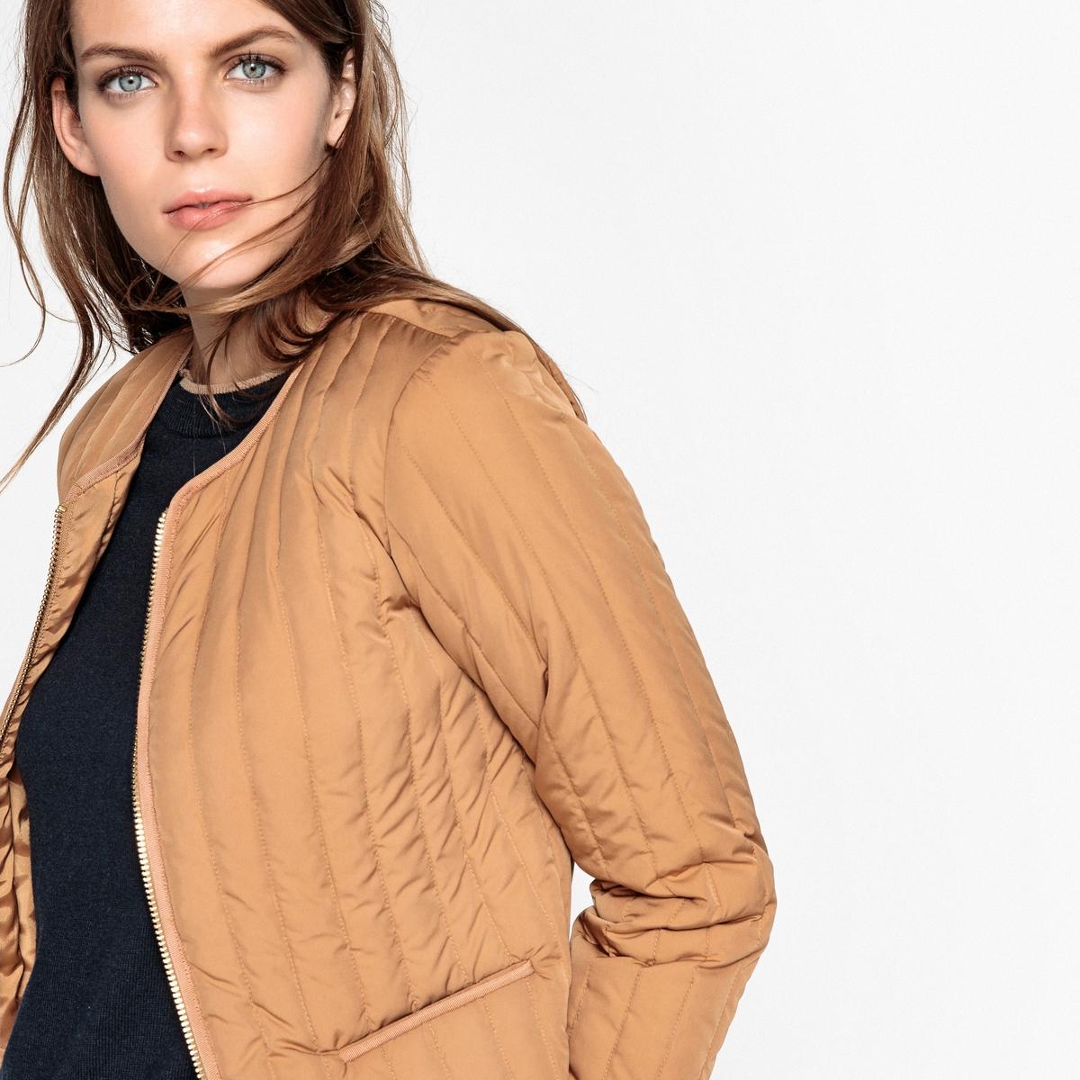 Куртка стеганая, укороченная демисезонная модель из синтетического материалаДетали  •  Длина : укороченная модель •  Круглый вырез •  Застежка на молниюСостав и уход •  28% полиамида, 72% полиэстера •  Наполнитель: 90% пуха, 10% пера •  Стирать при 30° на деликатном режиме  •  Деликатная сухая чистка / отбеливание запрещено •  Машинная сушка запрещена  •  Не гладить<br><br>Цвет: темно-бежевый,черный
