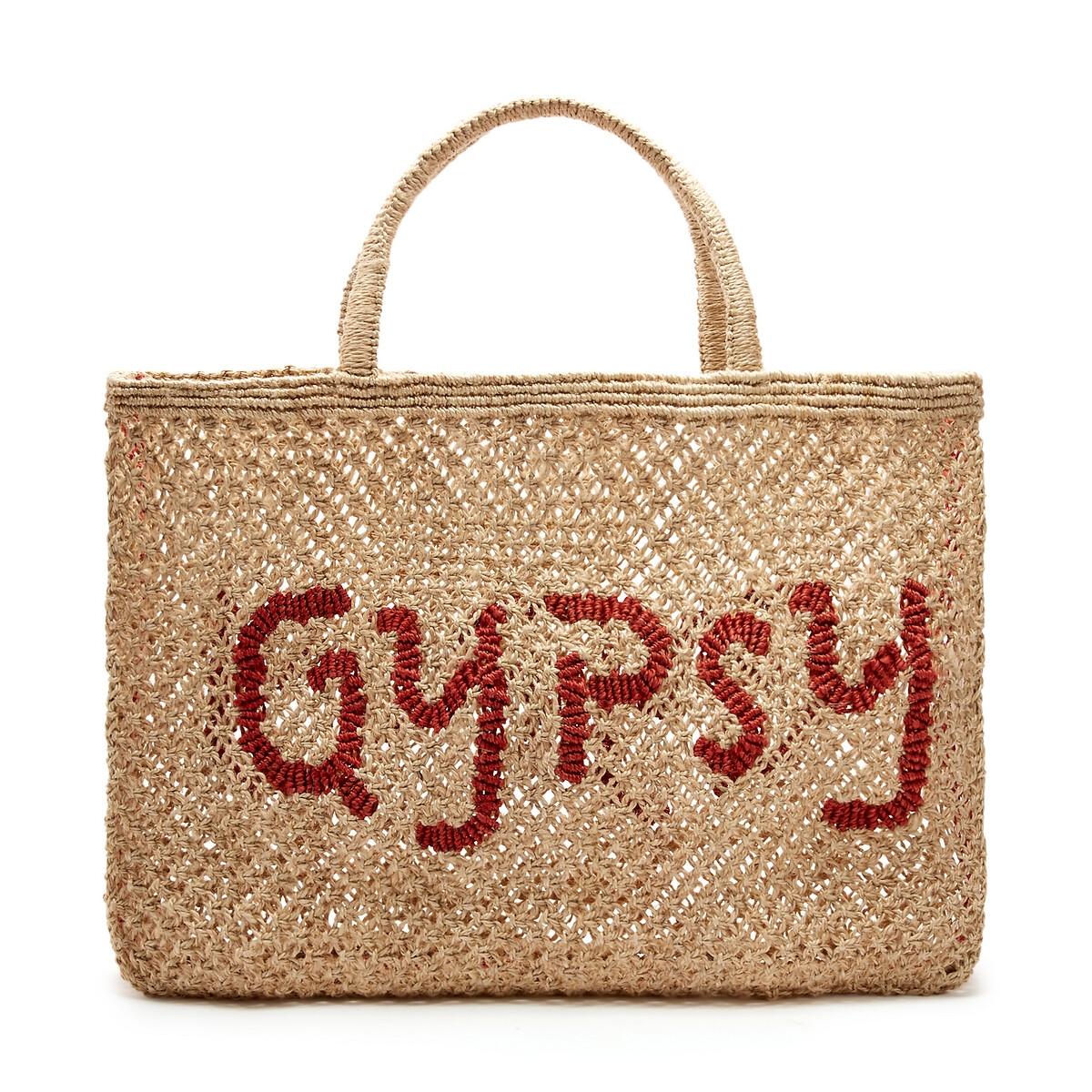 Сумка-шоппер La Redoute Из джута с надписью GYPSY единый размер бежевый зеркало la redoute д x в см principe единый размер бежевый