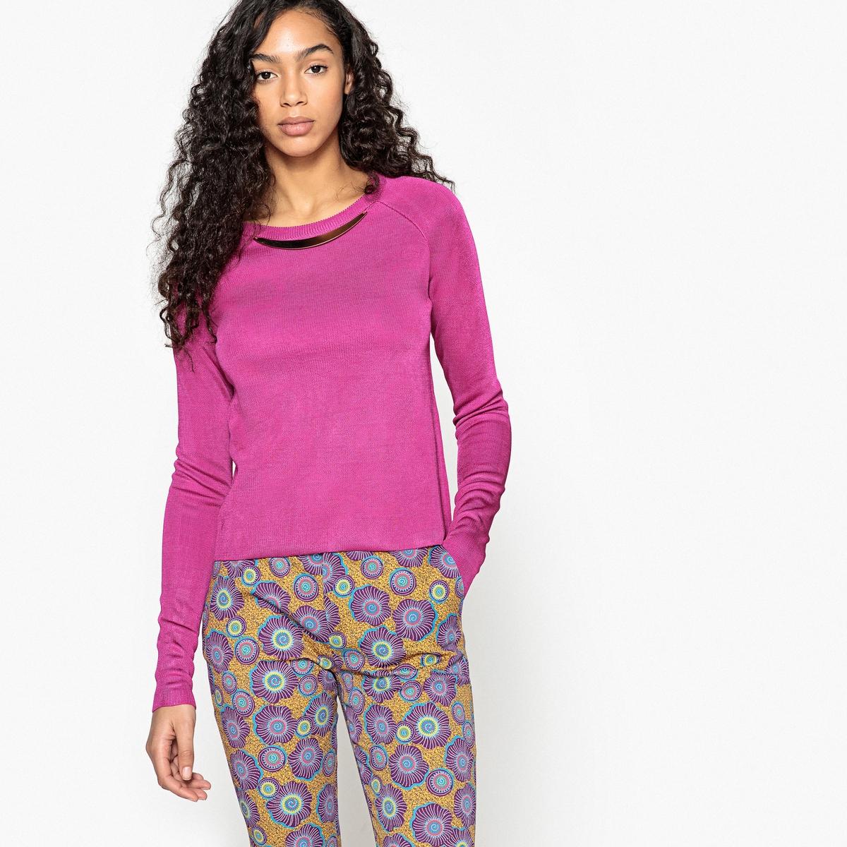 цена Пуловер La Redoute С круглым вырезом и оригинальными украшениями XXL розовый онлайн в 2017 году