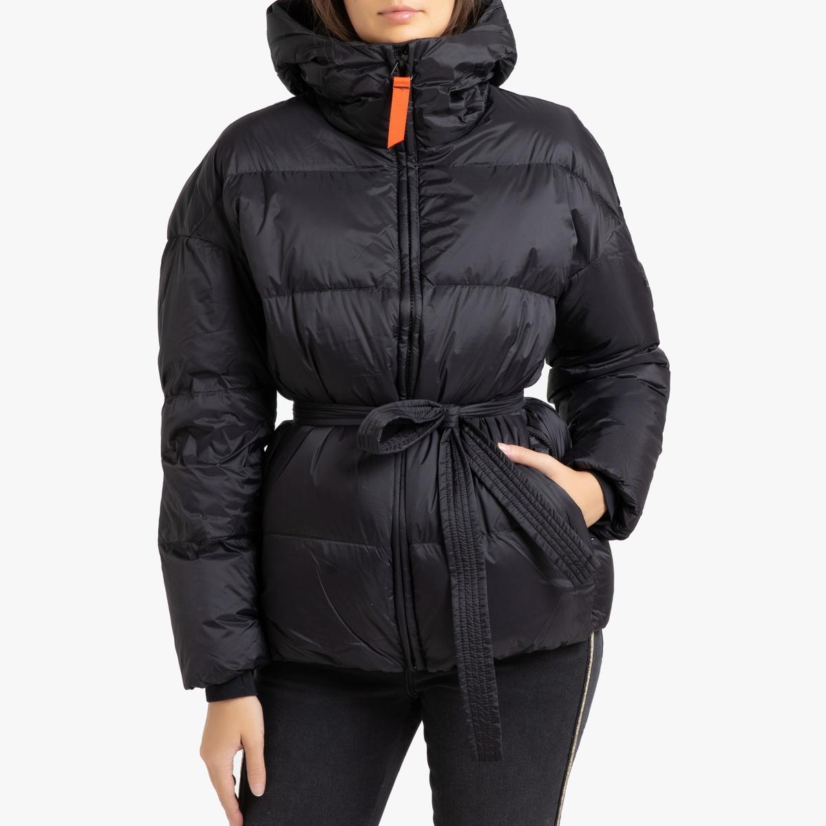 цена Куртка La Redoute Стеганая короткая с капюшоном MIKA MAT L черный в интернет-магазинах