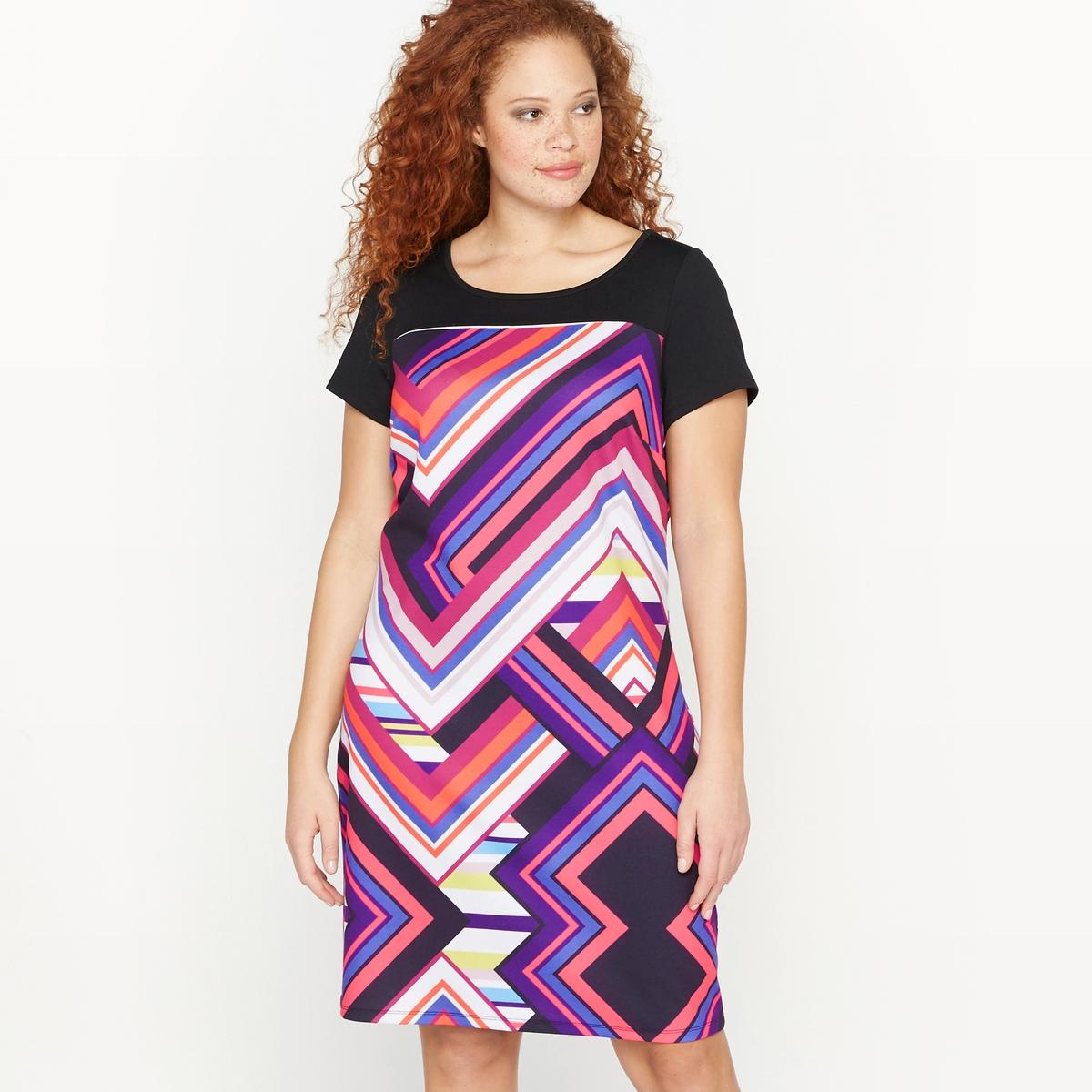 Платье прямого покроя из трикотажа с рисунком платье прямого покроя с короткими рукавами и рисунком