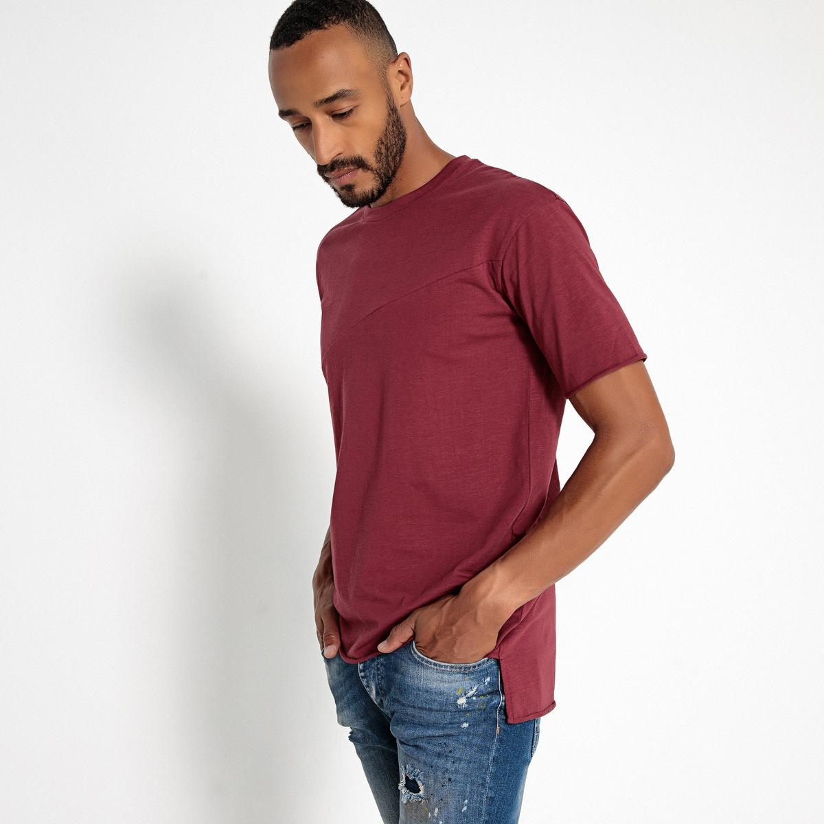 T-shirt de corte largo, gola redonda e mangas curtas