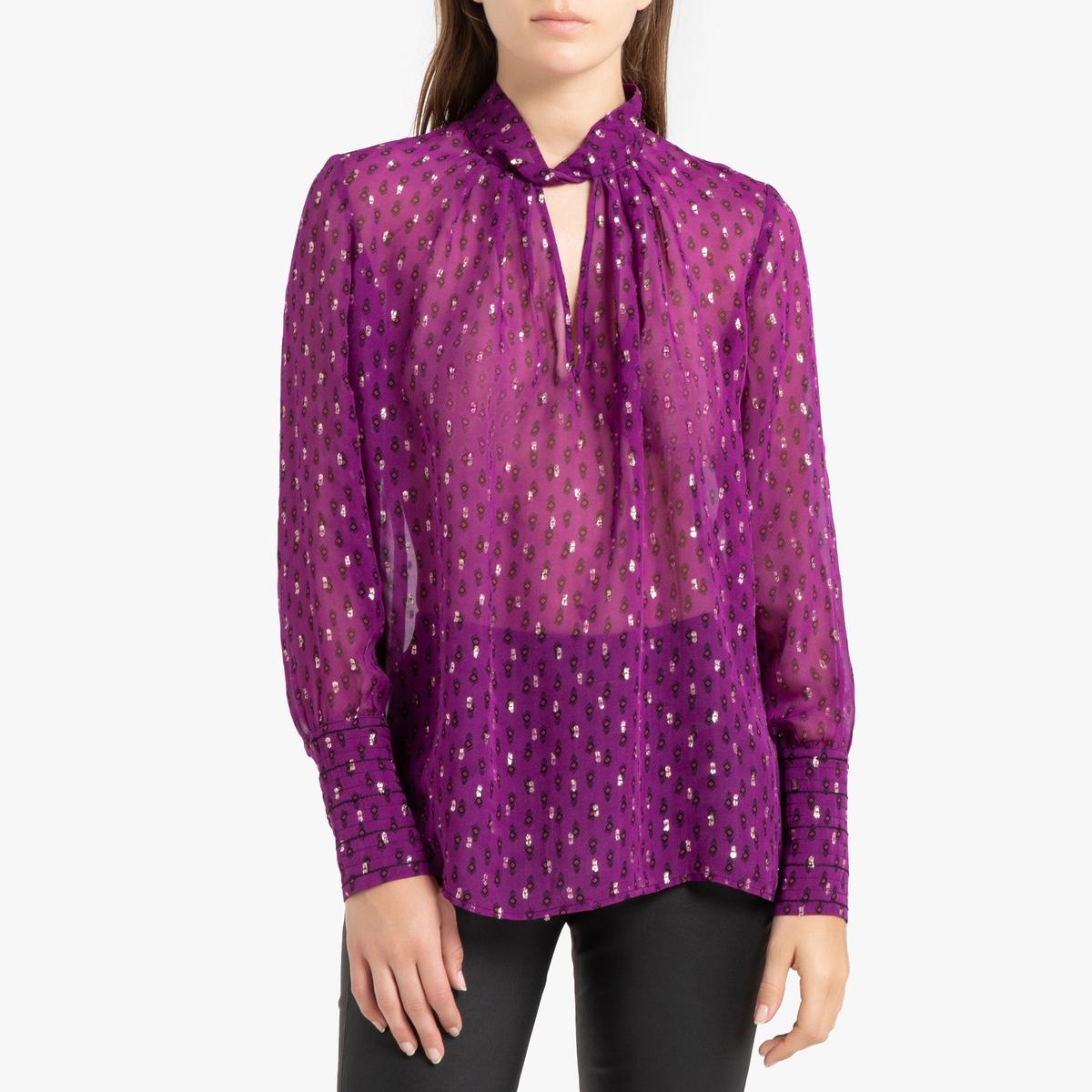 цена Блузка La Redoute Блестящая с V-образным вырезом и длинными рукавами CABRI 0(XS) фиолетовый онлайн в 2017 году