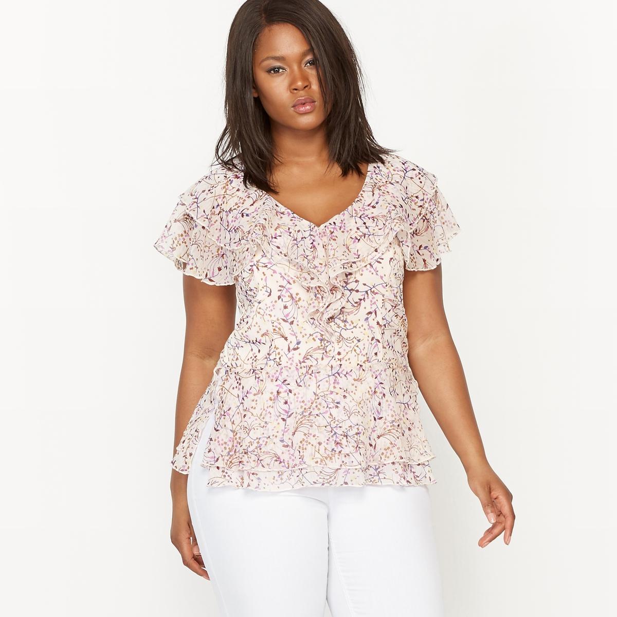 Блузка с рисунком с воланами