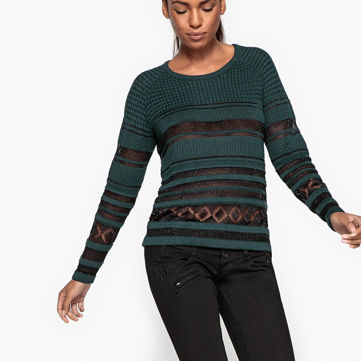 Пуловер с круглым вырезом из тонкого трикотажаОписание:Детали •  Длинные рукава •  Круглый вырез •  Тонкий трикотаж Состав и уход •  20% шерсти, 80% хлопка •  Следуйте советам по уходу, указанным на этикетке<br><br>Цвет: темно-зеленый<br>Размер: XL