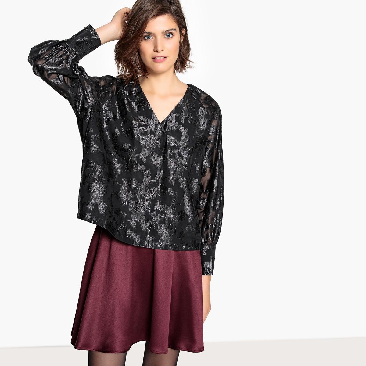 Blusa com decote em V, estampado jacquard, mangas compridas
