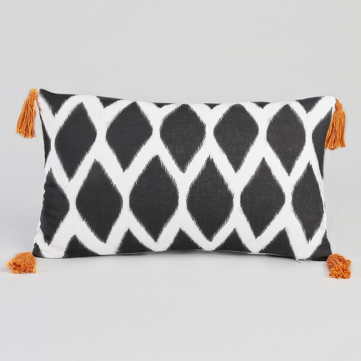 Чехол для подушки ZafiХарактеристики :- 100% хлопковая вуаль, застежка на молнию.- Отделка оранжевыми помпонами. Размеры :- 50 x 30см.<br><br>Цвет: набивной рисунок