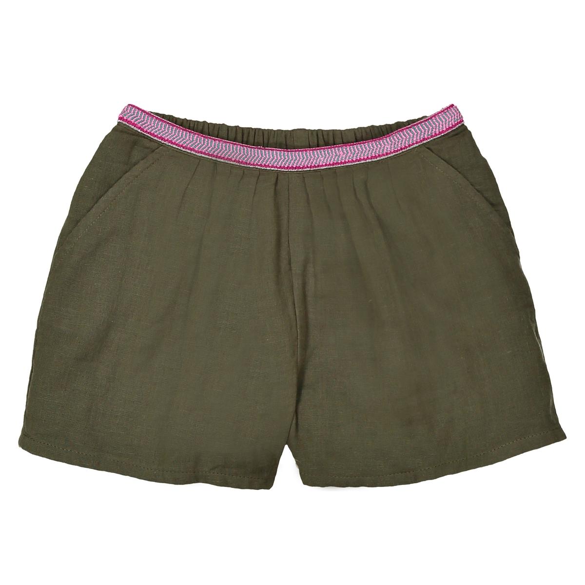 Shorts cintura fantasia in garza di cotone da 3 a 12 anni