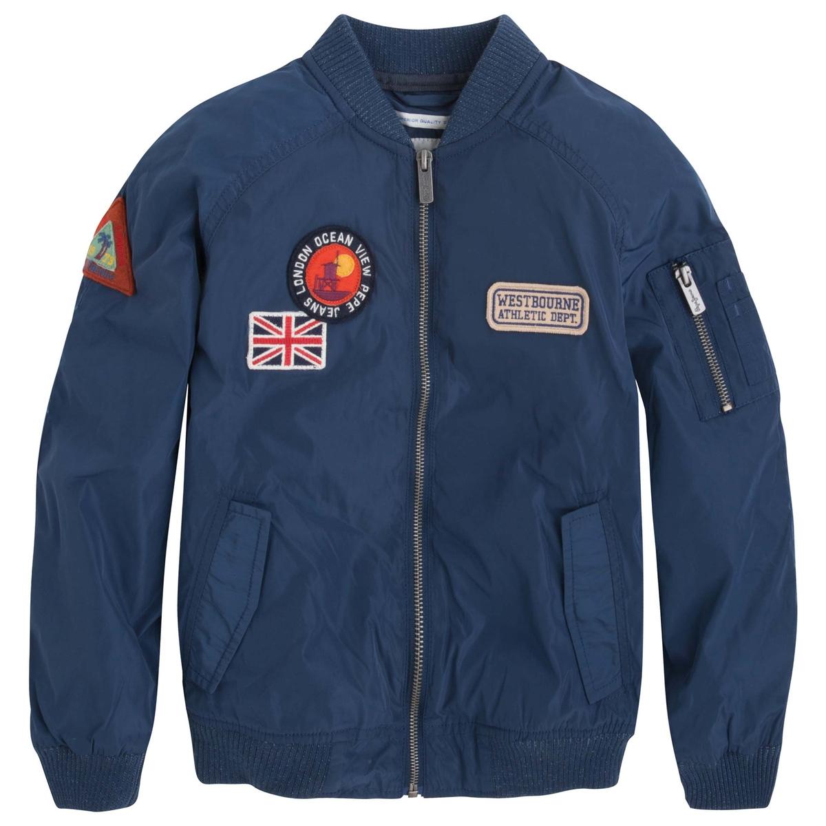 Куртка-бомбер прямого покрояОписание:Детали •  Бомбер •  Прямой покрой •  Воротник-поло, рубашечныйСостав и уход •  100% полиэстер •  Следуйте рекомендациям по уходу, указанным на этикетке изделия<br><br>Цвет: синий морской<br>Размер: 12 лет -150 см