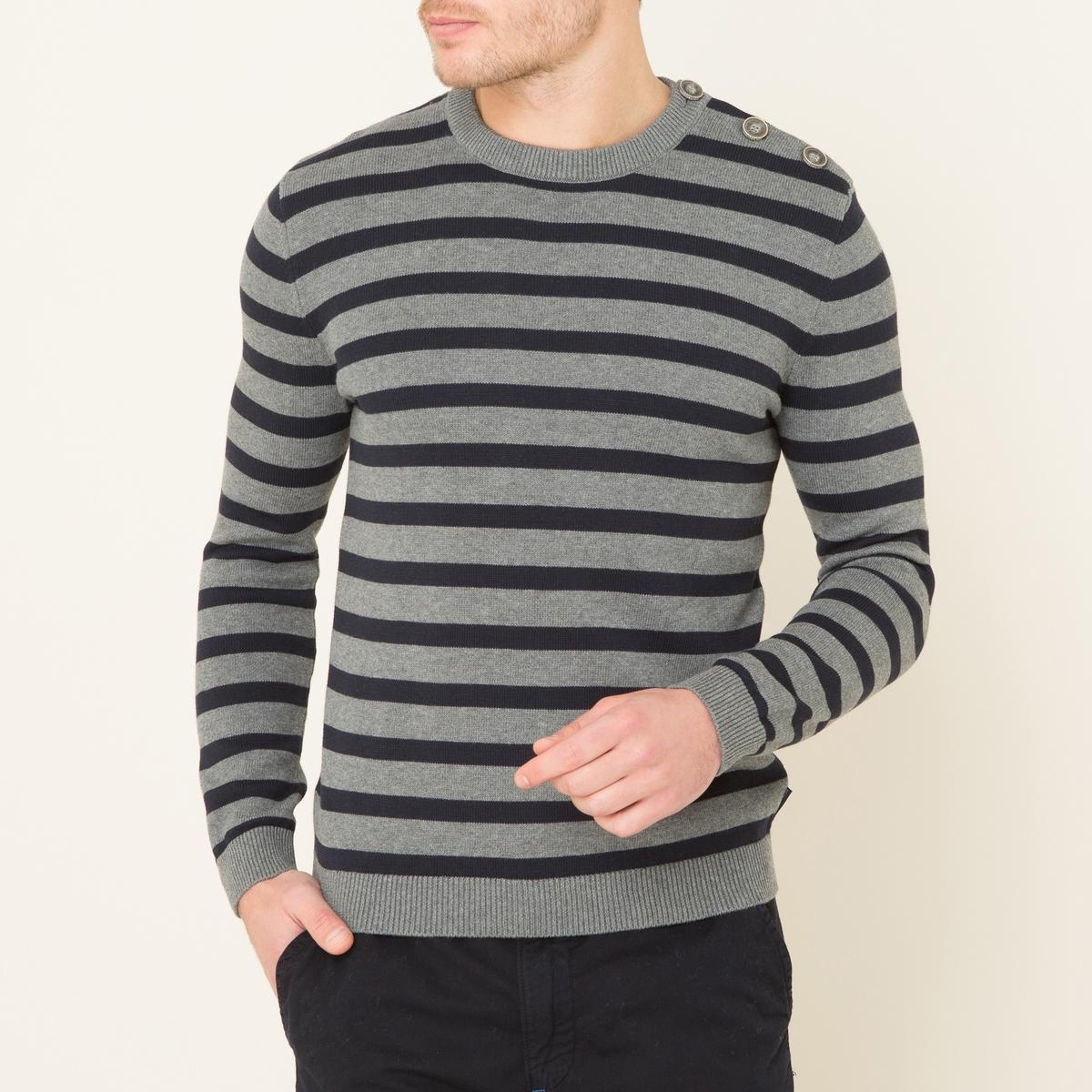 Пуловер DARIOПуловер HARRIS WILSON - модель DARIO в полоску в морском стиле, из хлопкового трикотажа. Круглый вырез с краями в рубчик, пуговицы на плече. Края рукавов и низа связаны в рубчик. Состав и описание    Материал : 100% хлопок в полоску из окрашенных нитей   Марка : HARRIS WILSON<br><br>Цвет: сине-серый