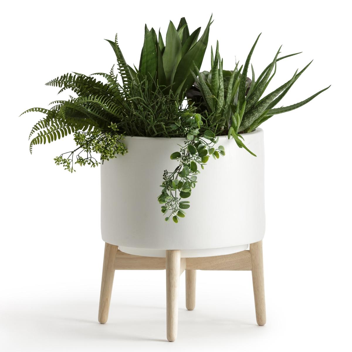 Кашпо Выс 42 см, FlorianДекоративное кашпо из керамики с подставкой из дерева  .Идеально для украшения ваших растений .Описание :- Из белой керамики- Подставка из гевеи с белым матовым покрытием и натуральными ножками.Размеры :- ?37 x 42 см<br><br>Цвет: белый