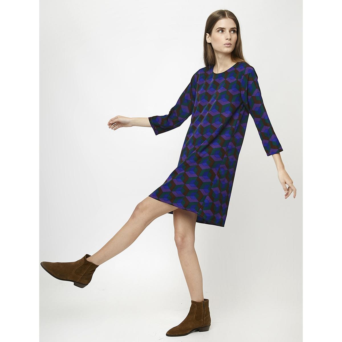 Платье La Redoute Короткое прямое с геометрическим принтом M синий платье la redoute прямое струящееся cienna 2 m синий