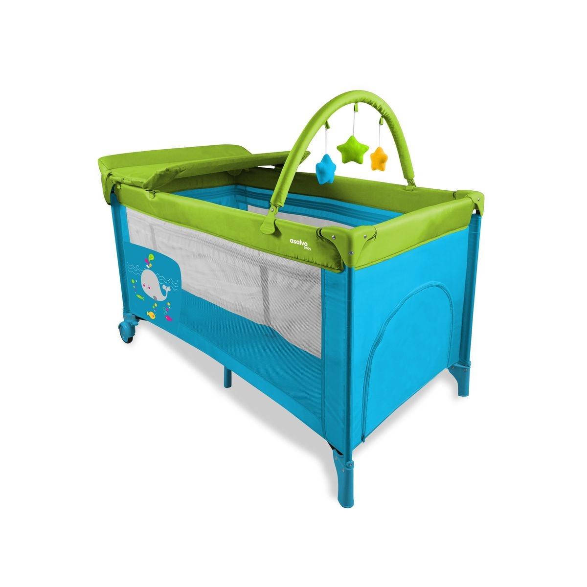 Lit pliant Baby Fox collection 'Baleine' avec rehausseur, table à langer et arche - Bleu